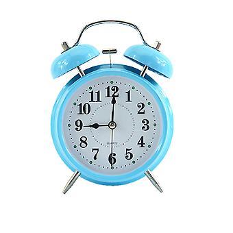 4 tuuman metallinen yksinkertainen digitaalinen herätyskello, sängyn vieressä suuri äänenvoimakkuuden herätyskello, säännöllinen herätyskello opiskelijoiden heräämiseksi, yövalo hiljainen kellonsininen
