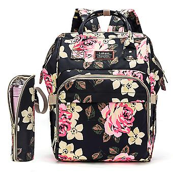 Diaper Bag Backpack Baby Bag Water-resistant Baby Nappy Bag With Insulated Water Bottle Bag/changing Pad,black Rose
