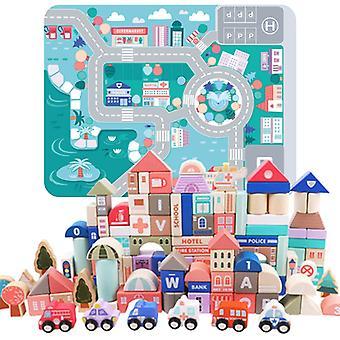 一般的な建物や交通を識別するための子供都市ビルディングブロックゲーム