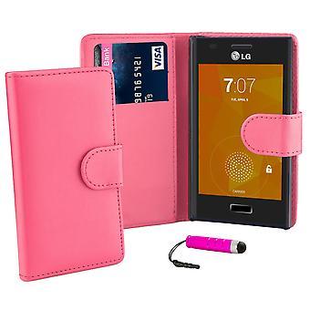 Livre Housse Etui portefeuille pour LG Optimus L5ii E460 + stylet - rose chaud