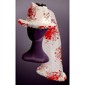 Bruiloft cilinder met bloed Halloween horror Topper hoed met sluier