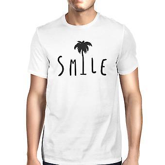 ابتسامة بيضاء رجالي شجرة النخيل جولة الرقبة كم قصير تي شيرت الهدايا