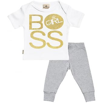 Verwend rotte BOSS meisje Baby T-Shirt & Baby Jersey broek Outfit Set