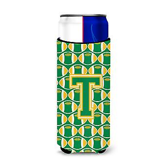 Letter T Football Green and Gold Ultra Beverage Insulators for slim cans