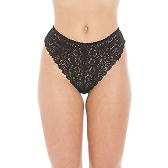 Camille svarta blommig spets melodi Lace Thong