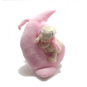 Plush music box pink moon with sheep