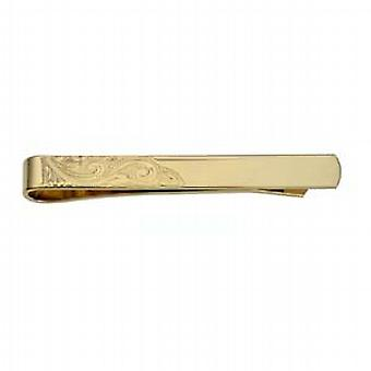 9ct Gold 6x55mm corner hand engraved Tie Slide