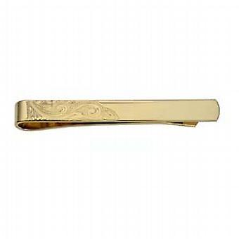Oro 9ct inciso a 6x55mm angolo mano cravatta Slide