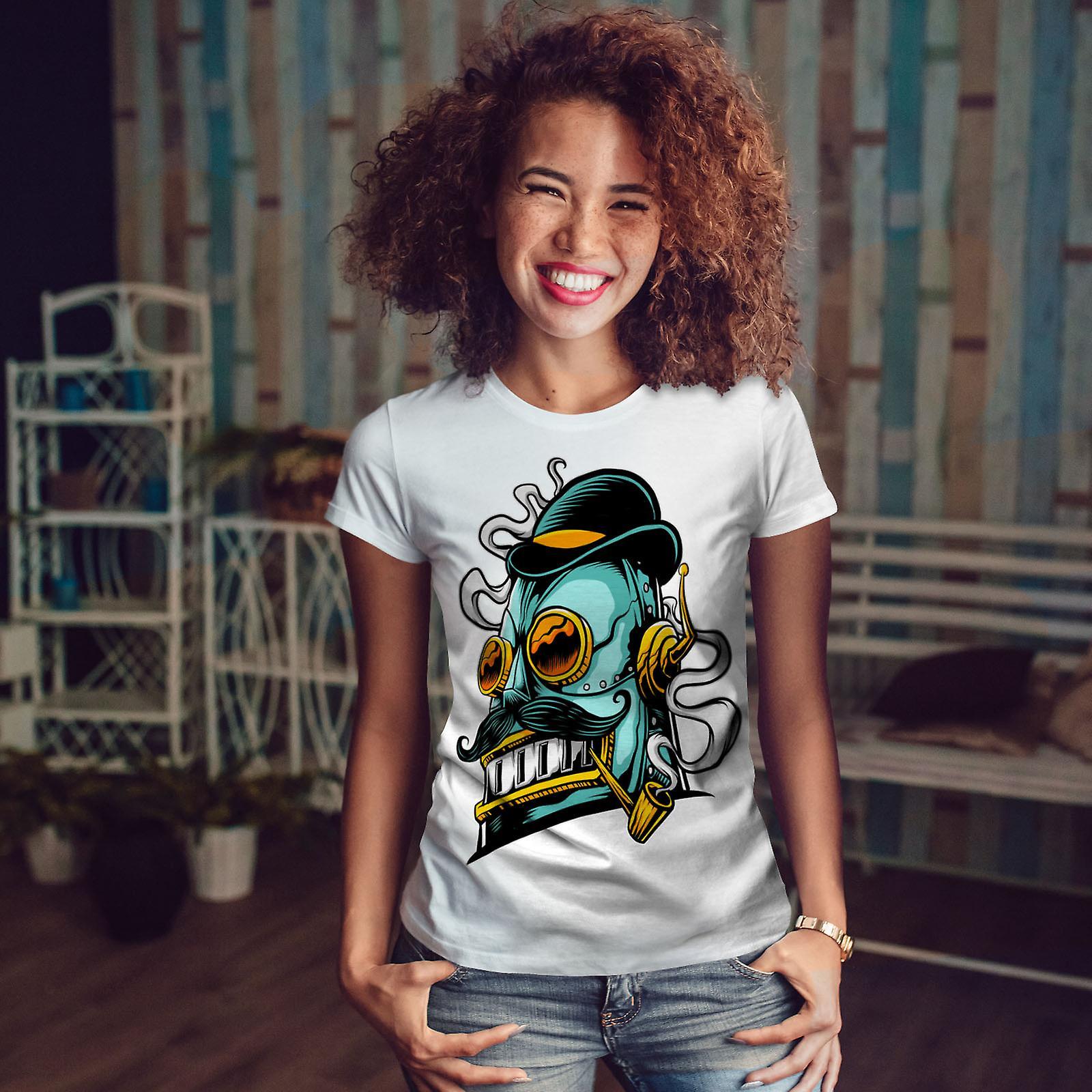 Robot fumeur Geek WhiteT-shirt femme | Wellcoda