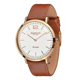 MADISON nova YORK Mens watch couro relógio de pulso L4741E4 Avenue