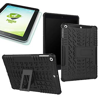 Hybrid outdoor protective case black for NEW Apple iPad 9.7 2017 bag + 0.4 H9 tempered glass