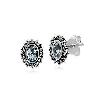 Art Deco Style Soikea Sininen Topaz & Marcasite Halo Stud korvakorut 925 Sterling Hopea 214E860901925