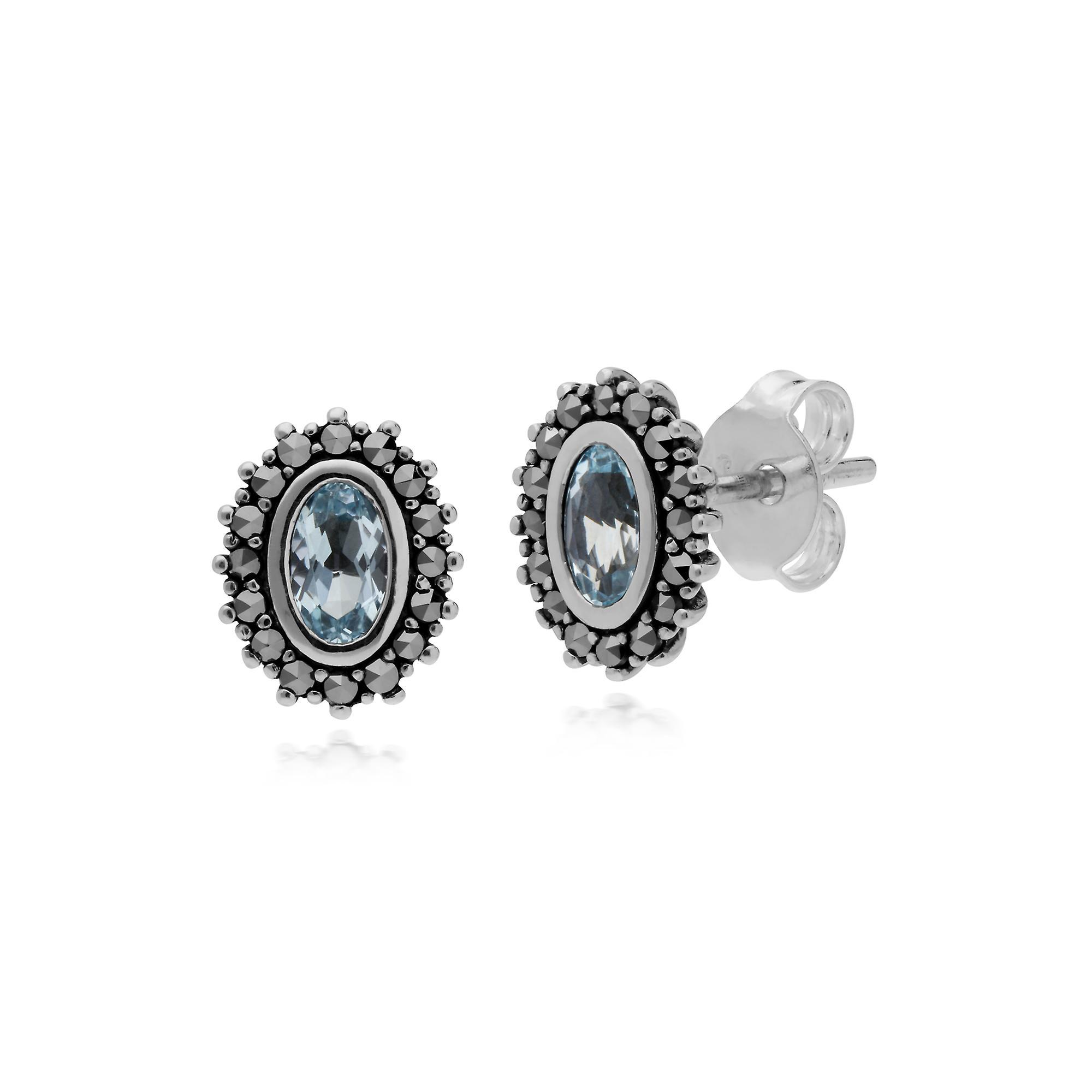 Sterling Silver Blue Topaz & Marcasite Art Nouveau Stud Earrings