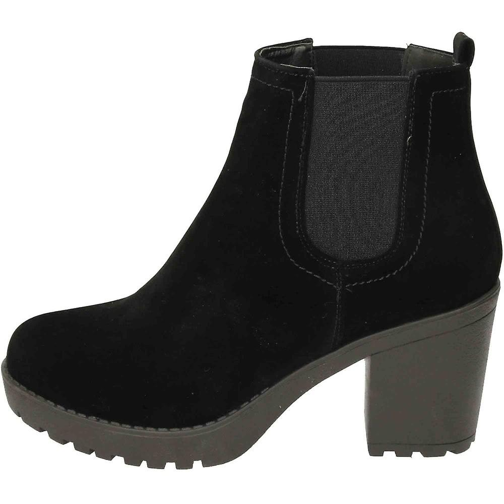 Koi Footwear Chunky Heeled Platform Chelsea Ankle Boots Suede Style