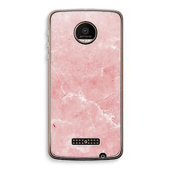 Motorola Moto Z Force transparant Case (Soft) - roze marmer