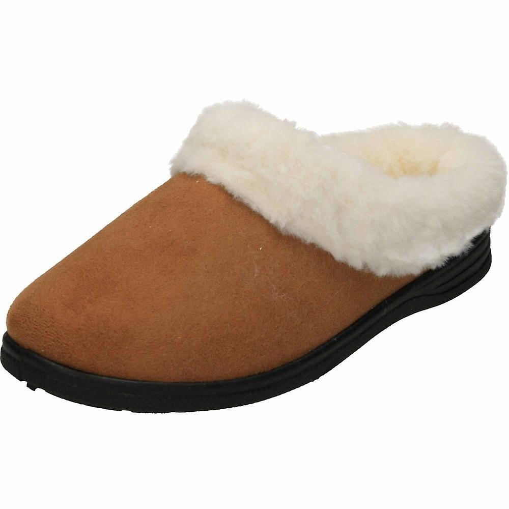 Cushion-Walk Tan Slipper Mule Plush Warm Clogs