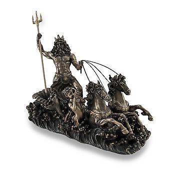 Poseidon Driving Hippocampus Drawn Chariot Bronzed Statue