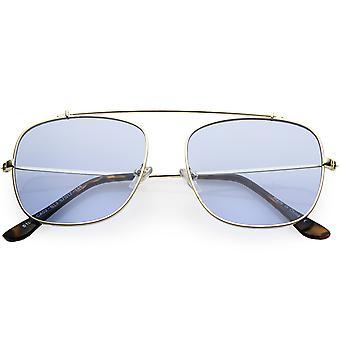 Oversize Metal Aviator Sunglasses Square Tinted Flat Lens 58mm