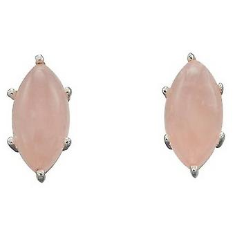 Elements Silver Marquise Cab Earrings - Pink/Silver