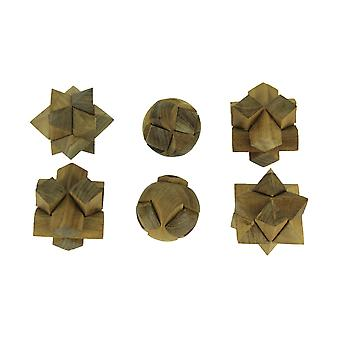 Natural Teak Wood Hand Carved Puzzle Balls Set of 6