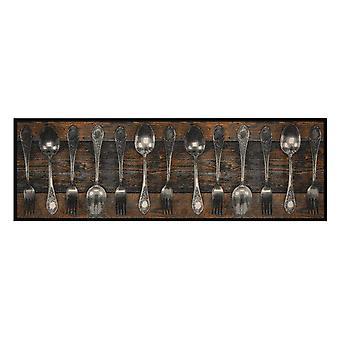 Washable kitchen runner fork & Spoon Braun 50 x 150 cm