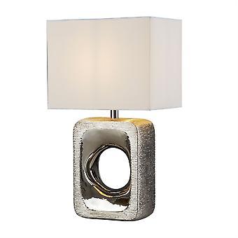 Grange Chrome martellata lampada da tavolo con paralume bianco - Searchlight 1024CC