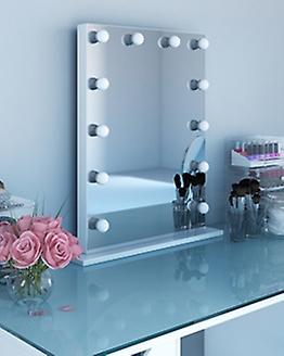 Diamond X Gloss White Hollywood Makeup Audio miroir LED k113MCWaud