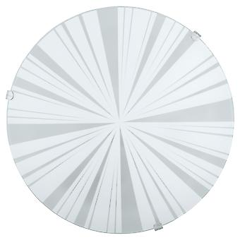 Eglo - Mars1 1 light traditional flush wall/ceiling light circular satin glass rays decoration EG89239