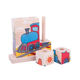 Bigjigs Toys Wooden Stacking Blocks (Transport) Chunky Educational Stacker