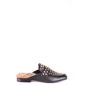 Steve Madden Ezbc077010 Zapatillas de cuero negro para mujer