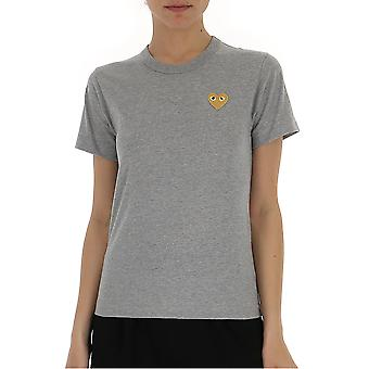 Comme Des Garçons Play P1t2153 Women's Grey Cotton T-shirt