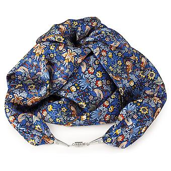 Eternal Collection Sonnet Blue Multi Coloured Liberty Print Pure Satin Silk Infinity Scarf
