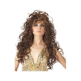 Womens Brown Seduction Wig 80s Rave Fancy Dress Costume Accessory
