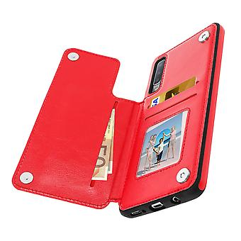 Samsung Galaxy A7 2018 Shockproof Case, Card Holder Wallet, Forcell, Red