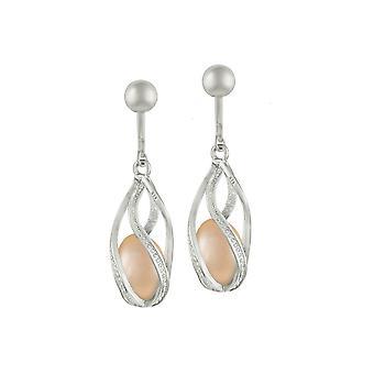 Collection Eternal Mesmerise Clip goutte en argent Sterling perle d'eau douce rose boucles d'oreilles