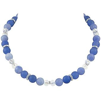 Eternal Collection Rhapsody Blue Multi Jade And Crystal Beaded Statement Necklace