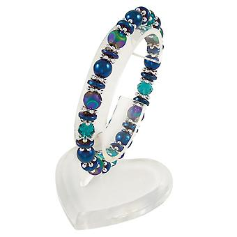 Eternal Collection Mariana Blue Multi Crystal Silver Tone Magnetic Stretch Beaded Bracelet