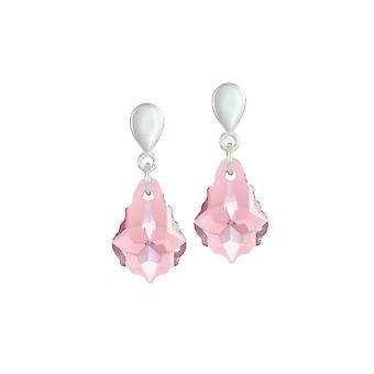 Eternal Collection Baroque Light Rose Austrian Crystal Silver Tone Drop Clip On Earrings