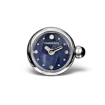 Timebeads mørkeblå rund Uramulet med clips fastgørelse TB2013BK