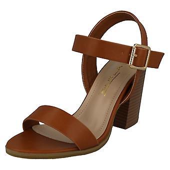 Ladies Anne Michelle Wide Fitting High Stack Heel Sandals F10910