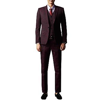 Allthemen barbati 3pcs Silm se potrivesc floral 3 piese costum (Blazer & vesta & pantaloni)
