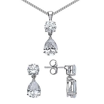 Jewelco London Rhodium Plated Silver Pear and Round Brilliant Cubic Zirconia Tears of Joy Earrings Necklace Set 18 inch