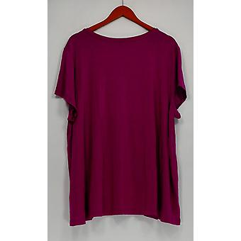 H par Halston Women-apos;s Plus Top Essentials V-Neck Tee Purple A306231