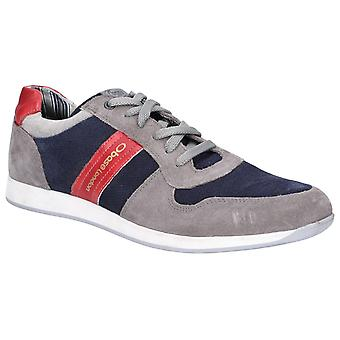 Base London Mens Eclipse Suede Lace Up Entrenador Gris/Navy