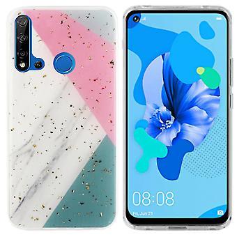 Huawei P20 Lite 2019 Grijs met Roze en Turquoise - Marble