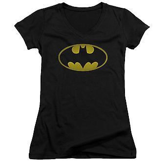 באטמן שטוף נשים לוגו ' חולצת V-צוואר של s