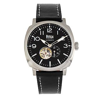 Reign Napoleon Automatic Semi-Skeleton Leather-Band Watch - Silver/Black