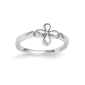925 Sterling Silver Rh Plated for boys or girls Polished Religious Faith Cross Ring - Ring Size: 3 to 4