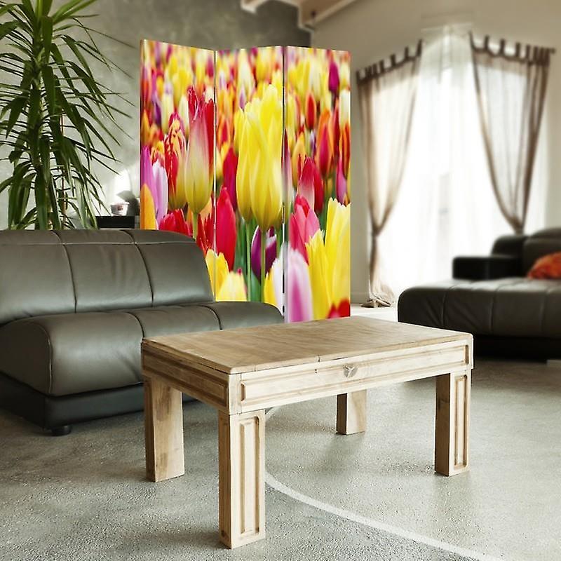 Diviseur de chambre, 3 panneaux, à un seul côté, toile, tulipes colorées 2