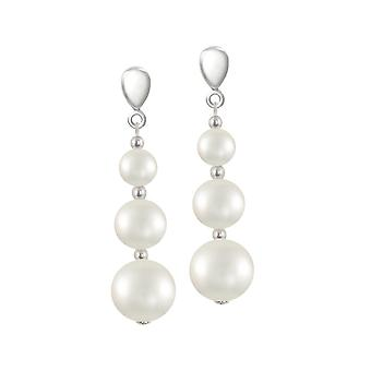 Eternal Collection Iconic White Shell Pearl Silver Tone Drop Pierced Earrings